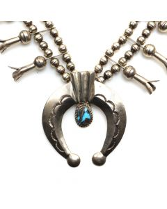 "Navajo Stormy Mountain Turquoise and Silver Squash Blossom Necklace c. 1972, 25"" length (J8898)"