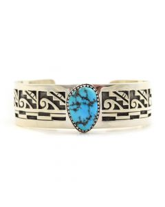 Timmy Yazzie - Navajo/San Felipe Sleeping Beauty Turquoise and Sterling Silver Overlay Pictorial Bracelet, size 6.75