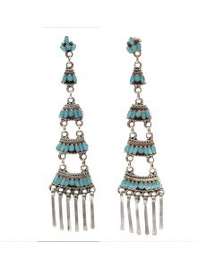 "Lot 156 - Dishta Family - Zuni Turquoise Channel Inlay and Silver Chandelier Dangle Post Earrings c. 1970s, 3.875"" x 1"" (J8927)"