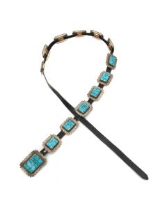 "Lot 182 - Zuni Turquoise and Silver Concho Belt c. 1950s, 29-32"" waist (J8984)"