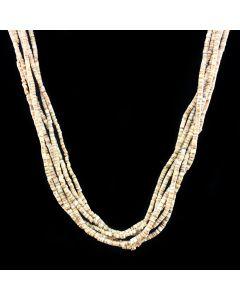 "Santo Domingo 6 Strand Heishi and Silver Necklace c. 1950, 24"" length"