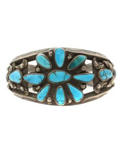 Lot 123 - Navajo Turquoise Cluster and Silver Bracelet c. 1930s, size 7 (J90106-010-012)