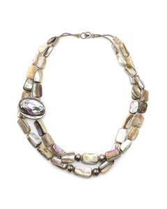 "Ava Marie Coriz ""Cool-Ca-Ya"" (1948-2011) - Santo Domingo (Kewa) Mother of Pearl Pendant Necklace, 19"" (J90106-018-019)"