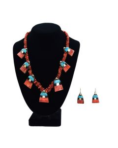 "Ava Marie Coriz ""Cool-Ca-Ya"" (1948-2011) - Santo Domingo Pendant Necklace and Earrings Set with Turquoise, Spiny Oyster, Jet and Mother of Pearl"