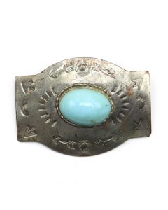 "Navajo Silver Pin with Blue Stone and Stamped Designs, c. 1950-60s, 1.375"" x 1.875"" (J90106-0610-015C)"