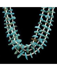 "Ava Marie Coriz ""Cool-Ca-Ya"" (1948-2011) - Santo Domingo Three Strand Turquoise and Heishi Necklace, 26"""