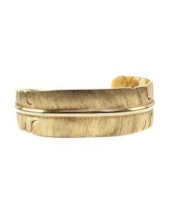 Michael Kirk (b. 1949) - Navajo/Isleta Contemporary 14K Gold Bracelet with Feather Design, size 6.25 (J90131-0221-001)