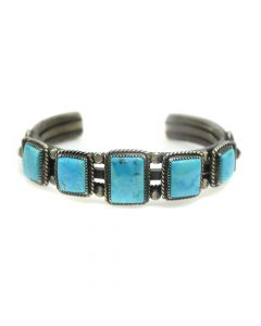 Harry Morgan (1946-2007) - Navajo Turquoise and Silver Bracelet c. 1980-90s, size 6 (J90193-0420-005)