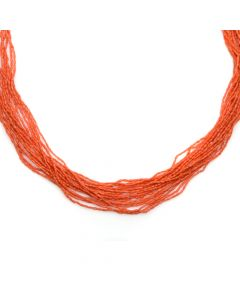 "Navajo 18-Strand Coral Necklace c. 1980s, 31"" length (J90193-0420-010)"