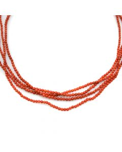 """Navajo 4-Strand Coral Necklace with Gold Tips, Contemporary, 20.5"""" long (J90193-0420-011)1"""