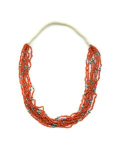 "Navajo 8-Strand Coral, Turquoise, and Silver Beaded Necklace c. 1970s, 28"" length (J90193-0420-014)"