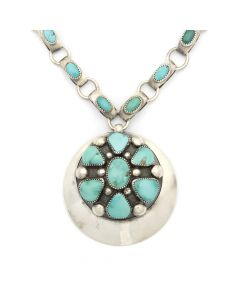 "Frank Patania Sr. (1898-1964) and Thunderbird Shop - Blue Gem Turquoise and Sterling Silver Pin/Pendant and Chain c. 1950s, 16"" length (J90195-0820-001)"