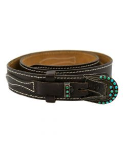Zuni Leather Belt with Silver and Turquoise Buckle
