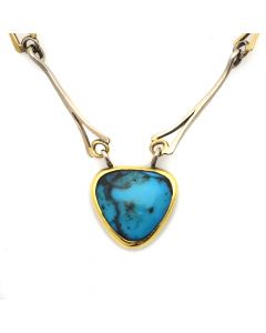 "Sam Patania – Contemporary Bisbee Turquoise Pendant with 18Kt Yellow and White Gold Handmade Chain, 20"" length (J90203C-0720-003)"