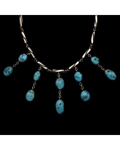 """Sam Patania - """"Delicate Drops"""" Contemporary Tyrone Turquoise and Sterling Silver Necklace, 15"""" length (J90203C-0720-005)"""