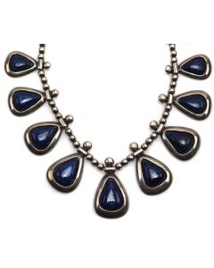 "Frank Patania Sr. (1898-1964) - Colorado Lapis and Sterling Silver Necklace c. 1950-60s, 16"" length (J90206B-0221-001)"