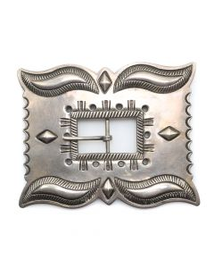 "Navajo Silver Buckle with Stamped Designs c. 1940s, 3.625"" x 4.5"" (J90206B-0313-015)"