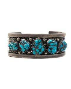 Navajo Silver Rope Band Design Bracelet with Morenci Turquoise