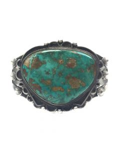 Navajo Blue Gem Turquoise and Silver Bracelet c. 1930s, size 6.5
