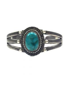 Navajo Turquoise and Silver Bracelet c. 1940s, size 6.25