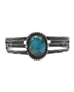 Navajo Turquoise and Silver Bracelet c. 1940s, size 6.75