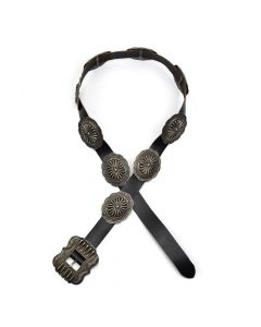 """Navajo Leather and Ingot Silver Concho Belt, circa 1920-30s, Fits 32"""" - 36"""""""