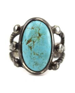 Navajo Turquoise and Silver Ring c. 1930s, size 9