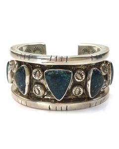 Victor Hicks - Navajo Silver and 5-Stone Lander Blue Turquoise Bracelet