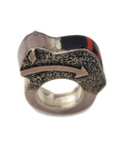 Heartline Bison Sterling Sliver Ring with Coral and Jet Inlay, c. 2000, Size 4.25 (J90276A-0715-102)