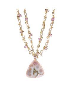 Dana Busch - Necklace with Ocean Jasper, Pale Green Catseye, Lavendar Ametrine, Smoky Quartz and Sterling Silver (J90283A-0112-039)
