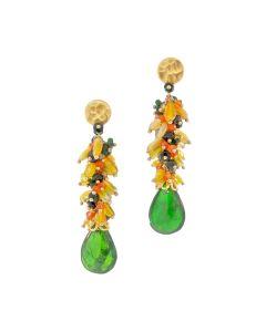 Dana Busch - Pair of Cluster Drop Earrings with Chrome Diopside, Fire Opal, Green Tourmaline, Carnelian, Peridot and 24Kt Gold Vermeil