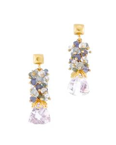 Dana Busch - Pair of Cluster Drop Earrings with Pink Amethyst Trillium Cut, Aquamarine, Alexandrite, Tanzanite, Rainbow Moonstone and 24Kt Gold Vermeil