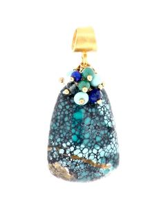 "Dana Busch - ""Sacred Spider Medicine II"" - Cluster Drop Pendant with Spiderweb Tuequoise, White Coral, Lapis Lazuli, London Blue Topaz, Turquoise & 24Kt Gold Vermeil"
