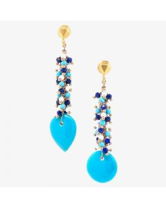 "Dana Busch - ""Heshi Teardrops"" - Cluster Drop Earrings with Sleeping Beauty Turquoise, Lapis Lazuli, White Coral & 24Kt Gold Vermeil"