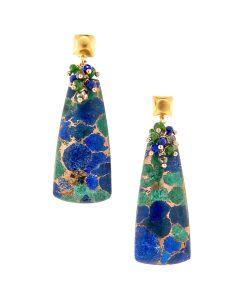 "Dana Busch - ""Fertile Mesa Washed in Golden Sunlight"" - Cluster Drop Earrings with Blueberry Azurite and Malachite, Green Tsavorite, Pyrite, Lapis Lazuli & 24Kt Gold Vermeil"