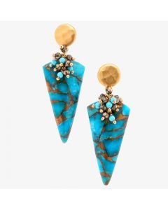 "Dana Busch - ""Terraces at Mesa Verde"" - Cluster Drop Earrings with Copper Mosaic Turquoise, Pyrite & 24KT Gold Vermeil"