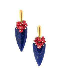 "Dana Busch - ""Sumac Berries Under Starlight"" Cluster Drop Earrings with Lapis Lazuli, Vintage Red Coral & 24Kt Gold Vermeil"