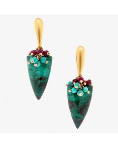 "Dana Busch - ""Germantown Tapestry Abstraction"" - Cluster Drop Earrings with Parrot Wing Chrysocolla, Turquoise, Ruby & 24Kt Gold Vermeil"