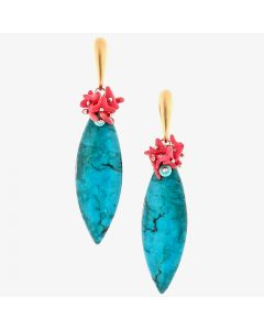 "Dana Busch - ""Red Feather Arrowheads"" - Cluster Drop Earrings with Morenci Turquoise, Red Branch Coral & 24Kt Gold Vermeil"