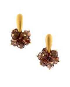 Dana Busch - Cluster Drop Earrings with Brown Zircon & 24Kt Gold Vermeil