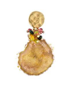 Dana Busch - Cluster Drop Earrings with Golden Baby Geode, Fire Opal, Green Tourmaline, Tangerine Sapphire, and 24Kt Gold Vermiel