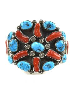 Navajo Turquoise, Coral, and Sterling Silver Bracelet c. 1960-70s, size 6.5