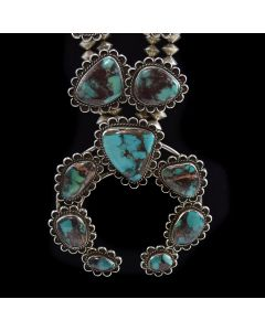 "Navajo Bisbee Turquoise and Silver Squash Blossom Necklace c. 1970s, 32"" length"