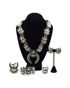 Porfolio Sheyka - Zuni Multi-stone Inlay and Silver Squash Blossom Necklace, Bracelet, Clip-on Earrings, Pin, and Ring Set c. 1973, Includes First Prize Ribbon