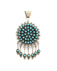 "Mary Sanchez - Zuni Petit Point Turquoise and Silver Pendant c. 1950-60s, 3.25"" x 1.75"""