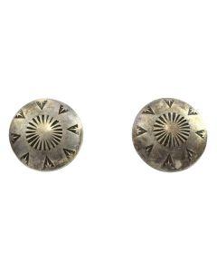 "Navajo Silver Post Earrings with Stamped Designs c. 1960s, 1"" diameter"