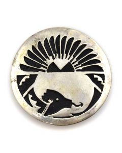 "Navajo Silver Overlay Pin with Avanyu Design c. 1980s, 1.5"" diameter"