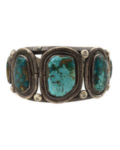Navajo Turquoise and Silver Bracelet c. 1970s, size 6.5