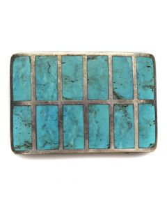 """Bien Mur Shop - Zuni Turquoise Channel Inlay and Silver Belt Buckle c. 1977, 2"""" x 3.125"""""""