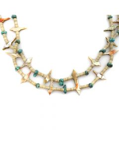"Zuni 2-strand Turquoise, Clamshell, and Mother of Pearl Bird Fetish Necklace c. 1970s, 29"" length"